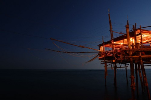 RED TRABOCCO IN THE BLUE NIGHT
