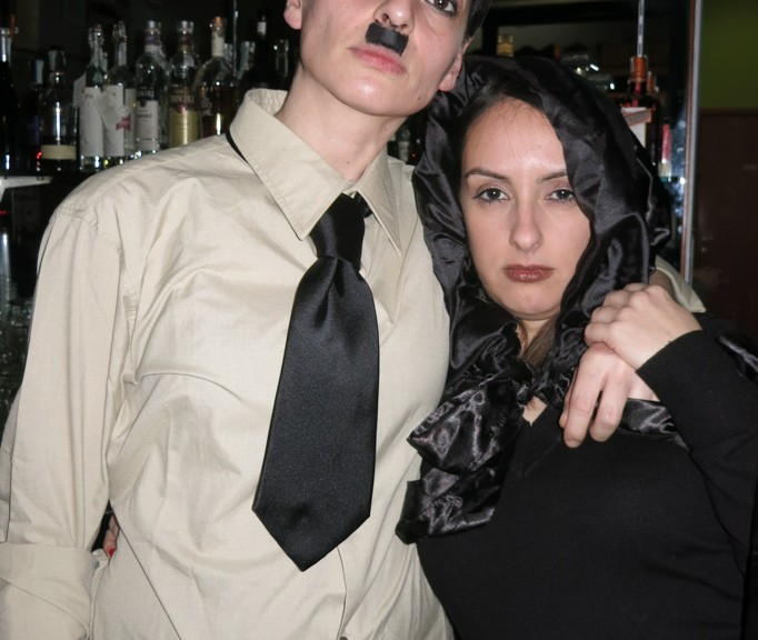 Simona as Hitler and Laura as Lady of Death