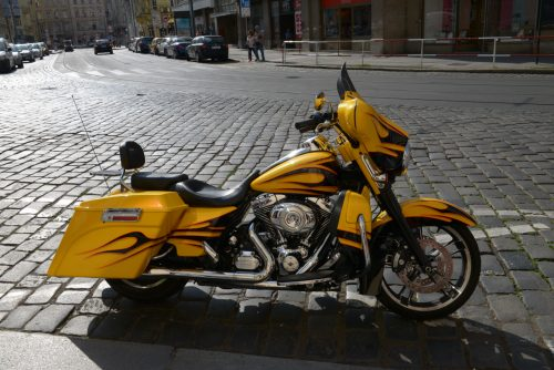 Yellow Harley-Davidson in Praga
