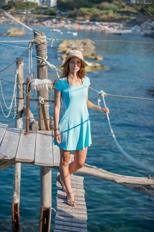 Naomi on a trabocco