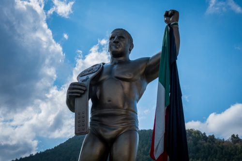 Monument to Bruno Sammartino, Italian wrestling legend in Pizzoferrato