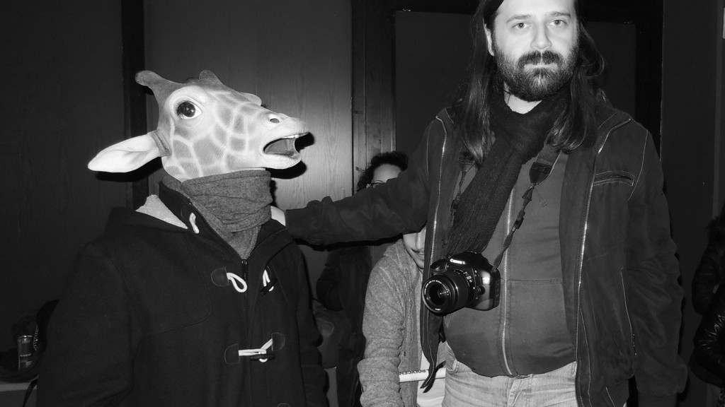 LUCA MADONNA WITH HIS GIRAFFE ON SET OF VOINA HEN VIDEO CLIP