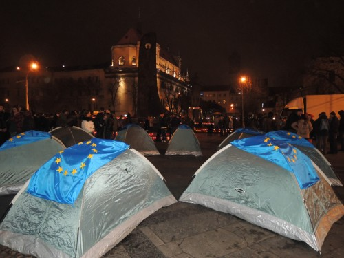 SOME EUROPEAN FLAGS ON THE TENTS IN THE SQUARE IN LVIV