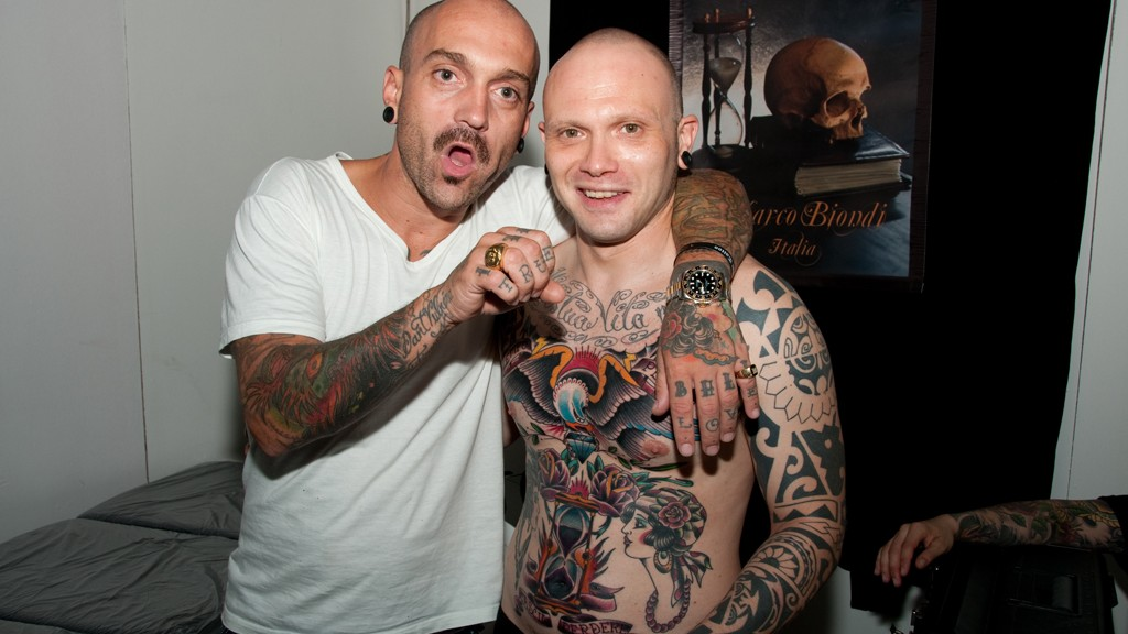 Maro Biondi with his new creation at the East Coast Tattoo Convention