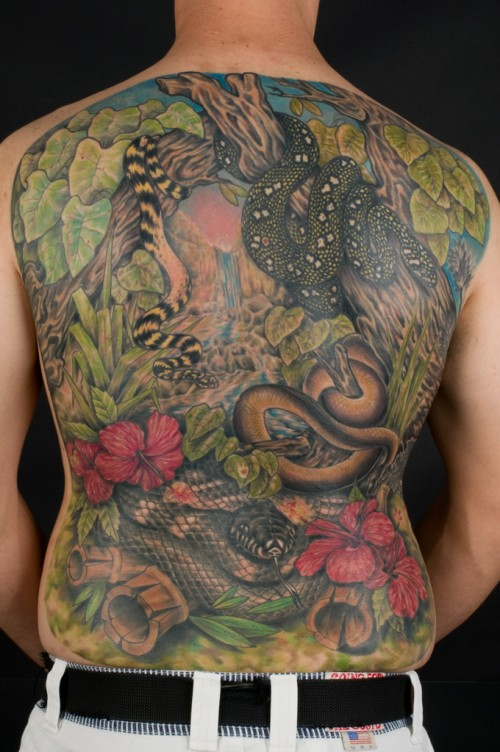 BACK SNAKES TATTOO BY MARCO BIONDI