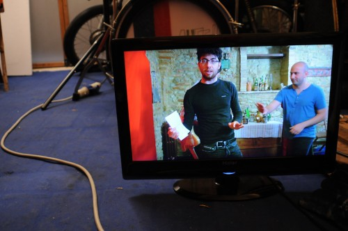DAVIDE POMPEO ON THE MONITOR DURING A SEQUENCE OF AUFF!! VIDEO CLIP PART #2