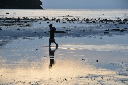 Sunset with low tide in Phi Phi island