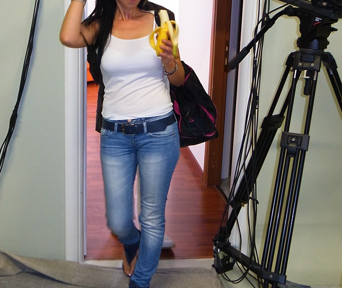 Girl with banana this morning for interview