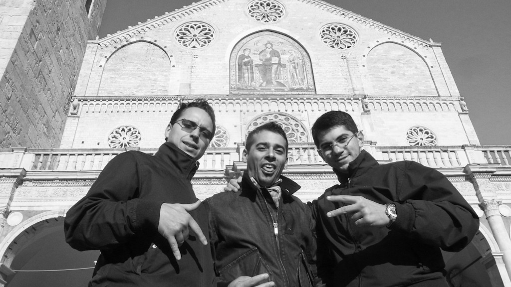 Three bad boys in front of Spoleto Cathedral