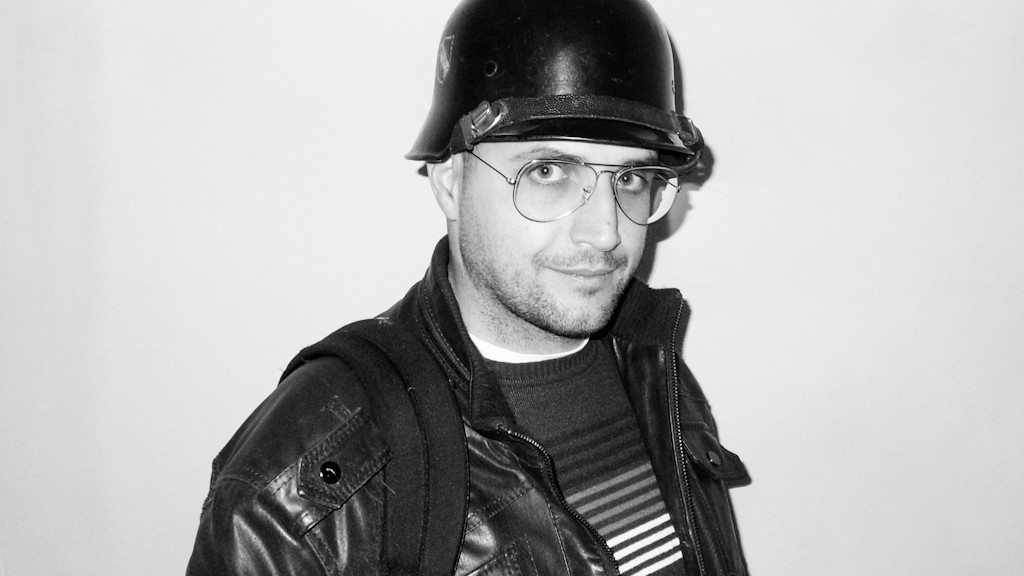 Me wearing a German helmet of World War II used in Nicola Antonelli's performance last night