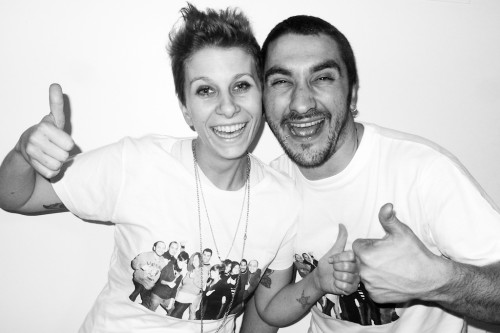 Friends of Valeria and Luca printed on their t-shirts