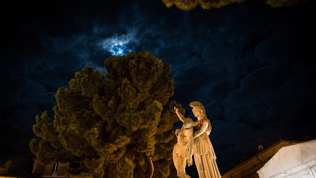 Super Blood Moon on war memorial for the martyrs of the October 6, 1943