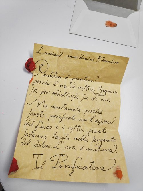 a strange letter for me from Il Purificatore