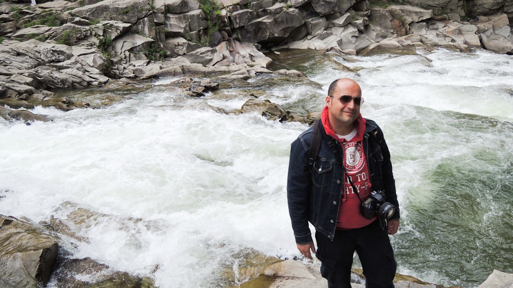 ME ON THE WATERFALLS IN YAREMCHE CARPATHIANS