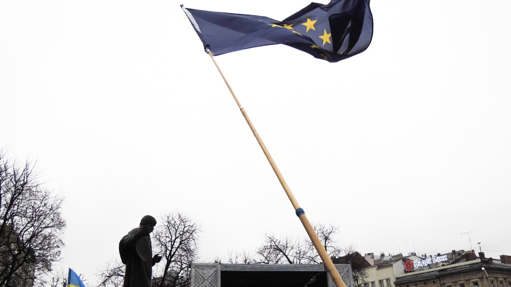 EUROPEAN FLAG IN LVIV